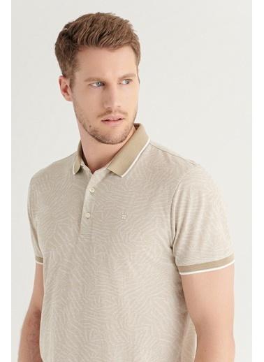 Avva AVVA Erkek Gri Polo Yaka Jakarlı T-Shirt A11Y1164 Bej